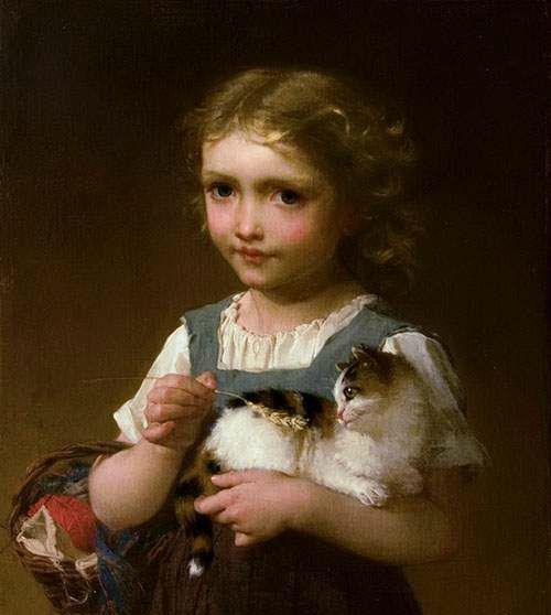 Emile Munier (French, 1840-1895) - Girl with Kitten