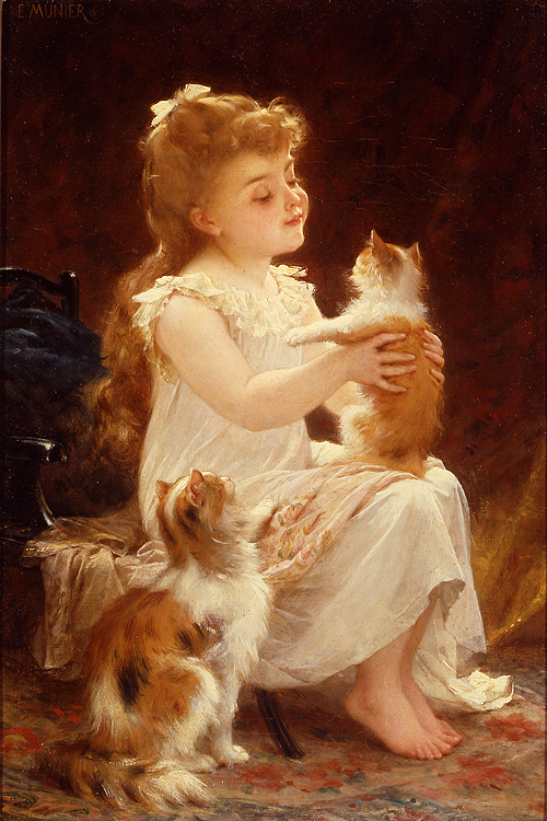 Emile Munier Playing with the Kitten 1893