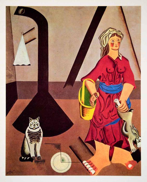 Farmers Wife Kitchen Cat Rabbit, Joan Miro