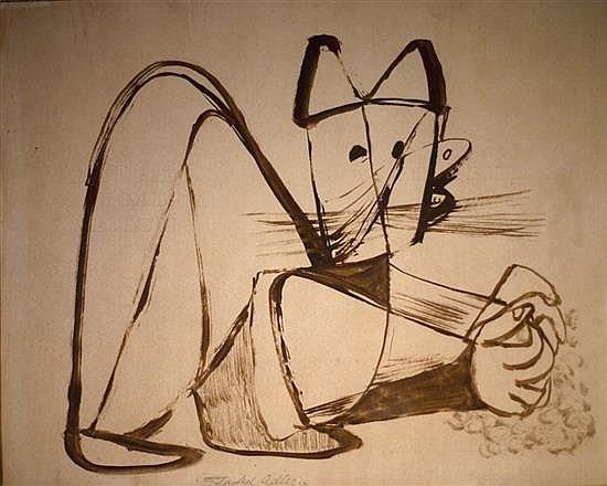 Jankel Adler 1895-1949 (Polish) Cat ink on paper