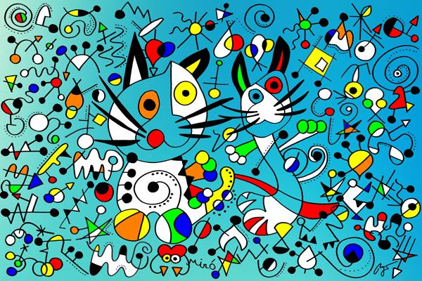 Joan Miro, Dancing Cats