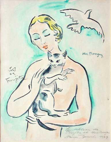 Woman Holding a Cat, 1930, Kees van Dongen