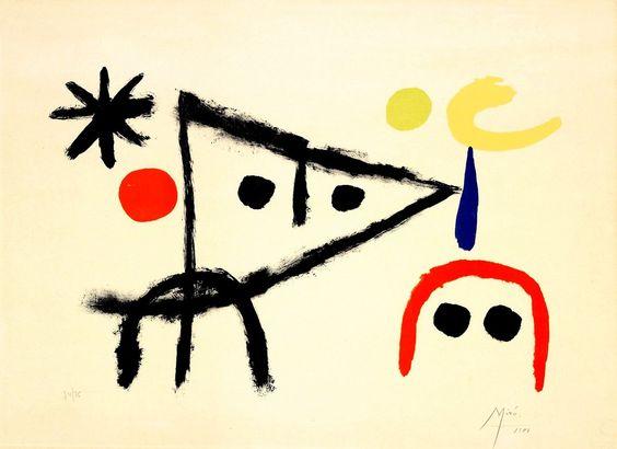 Le petit chat au claire de la lune , 1951 Joan Miró
