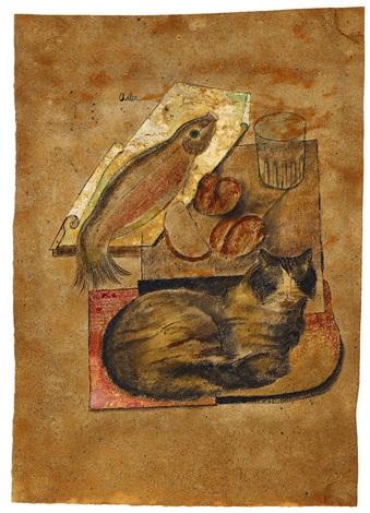 Still life with cat, Jankel Adler