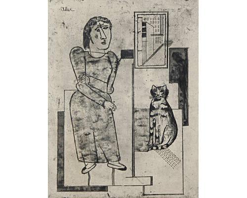 Woman and Sitting Cat, Jankel Adler