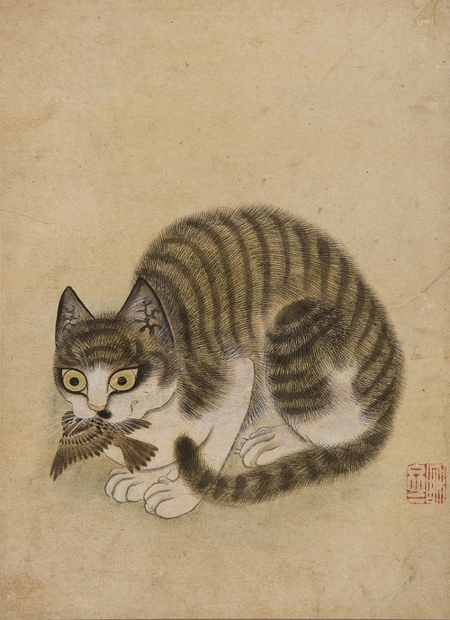 Byeon Sang-byeok Joseon Dynasty, 18th century, cat with bird
