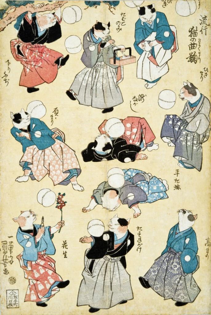 Fashionable Cats Juggling Balls ukiyō-e woodblock print, c. 1841, Utagawa Kuniyoshi