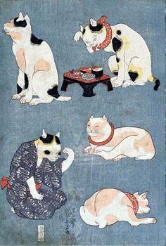 Five Cats, Utagawa Kuniyoshi