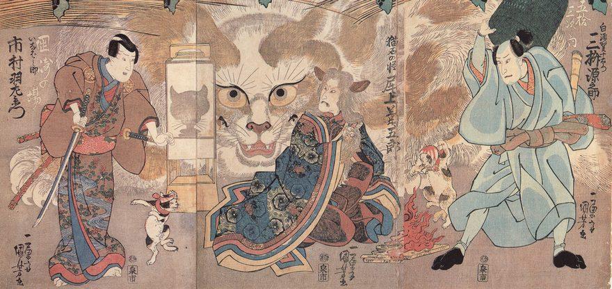 Utagawa Kuniyoshi Ume no haru gojusantsugi, 1835, PD A kabuki that was performed in 1835 (Tenpo 6) in Ichimura-za. It depicts a cat that has shapeshifted into an old woman, a