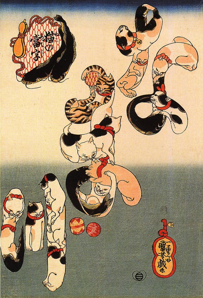 Cats forming the characters for catfish 1843, Utagawa Koniyoshi