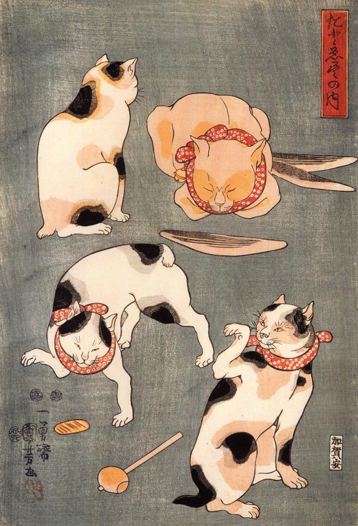 Kuniyoshi Utagawa Four Cats in Different Poses, Cats in Asian Art