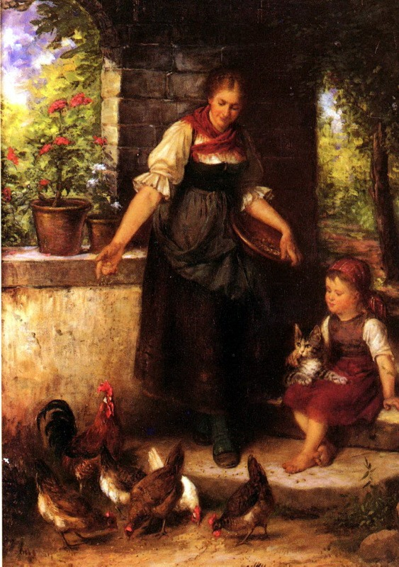 Rudolf Epp, Woman and Child and cat
