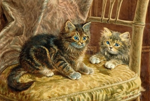 Two kittens on a gold cushion Wilson Hepple