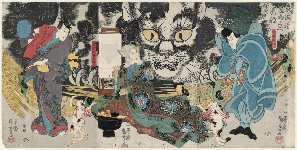 Utagawa Kuniyoshi An Imaginary Scene of the Origin of the Cat Stone at Okazaki, from the Fifty-three Stations of the Tokaido Road