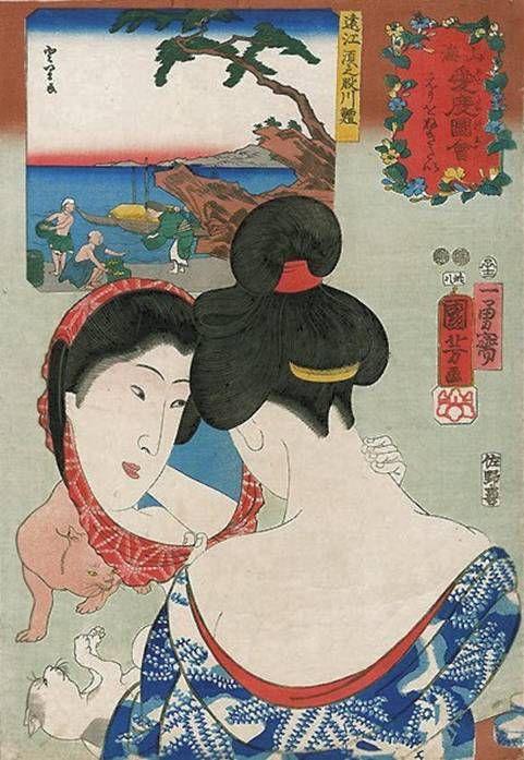 Wanting to tweeze the nape of the neck (cats playing) ukiyo-e woodblock print, 1852 Ugatawa Kuniyoshi