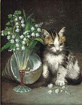 Wilson Hepple (1854-1937) - A kitten with a shell and flowers in a glass vase - Oil on canvas, 1901