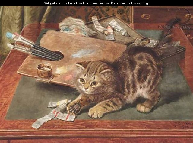 Wilson Hepple Kitten with paint and palate
