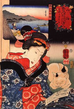 woman reading the paper with her cat woodblock print, ca. 1800s Utagawa Kuniyoshi
