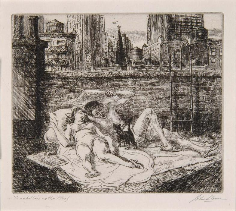 Sunbathers on the Roof John Sloan (1871-1951) cats