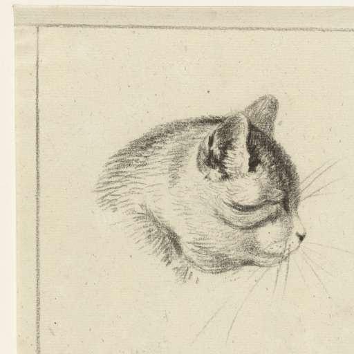 Cat Head Looking Right, 1833, Jean Bernard