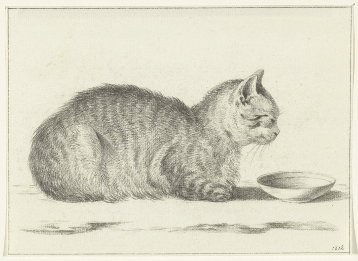 Cat and Bowl, 1812, Jean Bernard