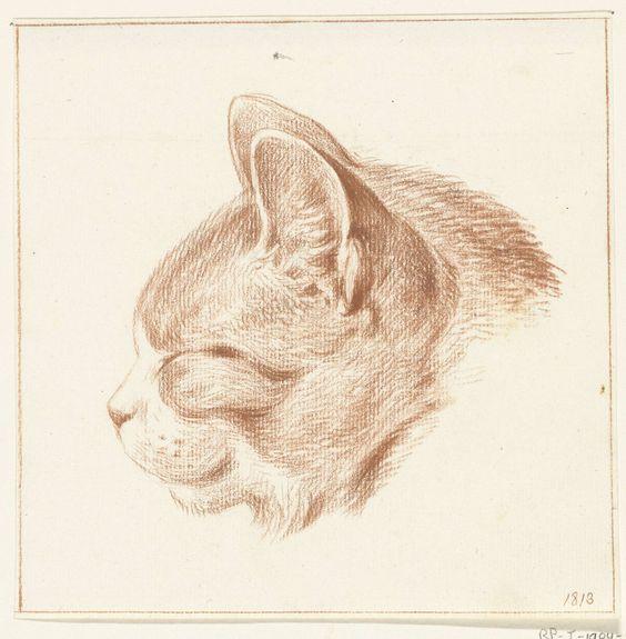Ginger Cat Head Facing Right, Jean Bernard 1775-1833