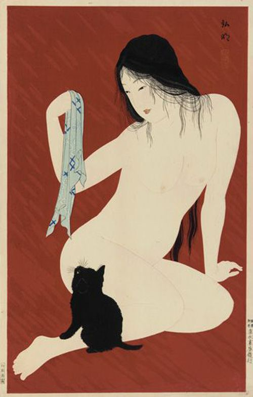 Nude with Black Cat 1929-1932 Takahashi Hiroaki Shotei, Japanese cat art, Hiroaki Takahashi Shotei