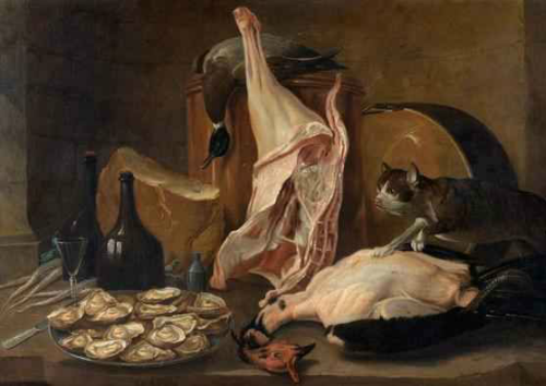 Alexandre Francois Desportes Cat Trying to Steal Food 3