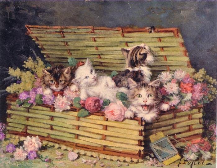 Jules Le Roy, Chatons dans un panier de fleurs
