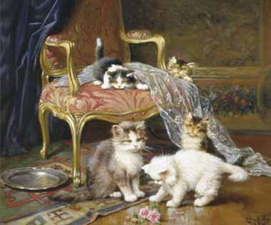 Jules Le Roy, Kittens near a Chair