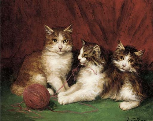 Jules Le Roy, Three Kittens and Yarn