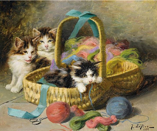Jules Le Roy, Three Kittens in a Sewing Basket