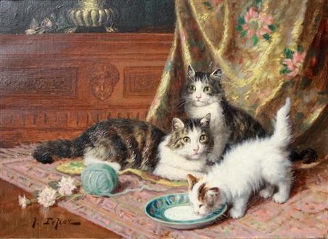 Jules Gustave Le Roy, chatte et chatons à l'assiette de lait