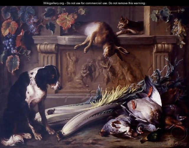 Still Life with Dog and Cat, Alexandre Francois Desportes