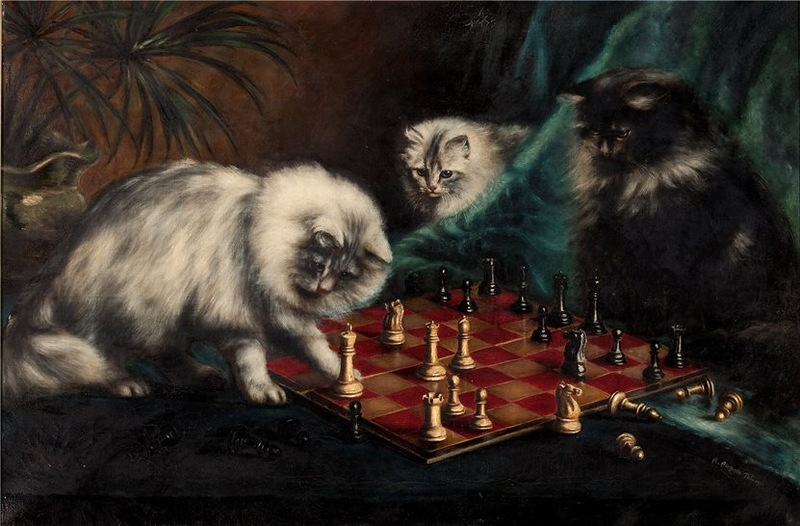 Three Persians Playing Chess Agnes Augusta Talboys private collection