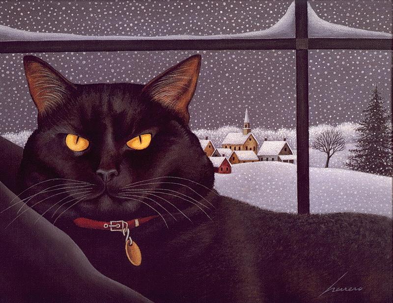 Black Cat on a Snowy Day, Lowell Herrero