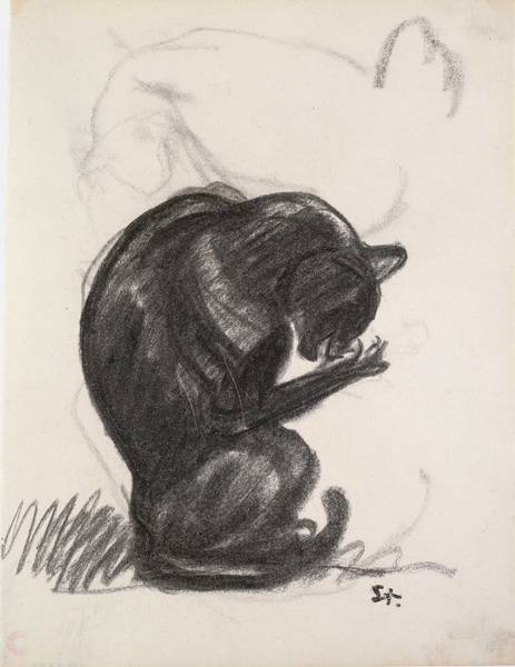 Cat Cleaning Itself, Theophile Steinlen-1902