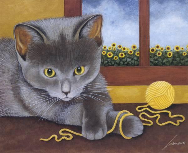 Kitten Playing with Yarn, Lowell Herrero