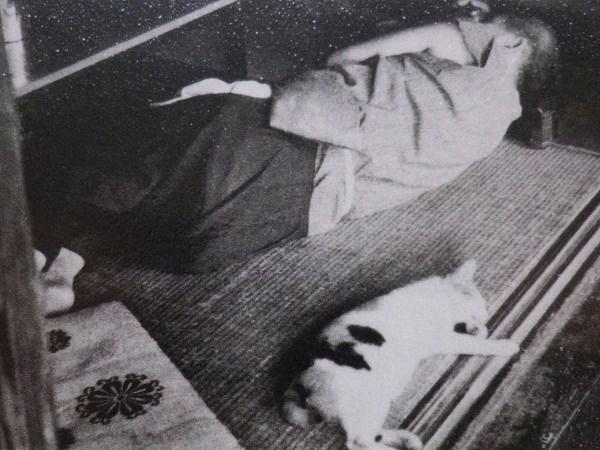 Kumagai Morikazu (1880-1977) with cat
