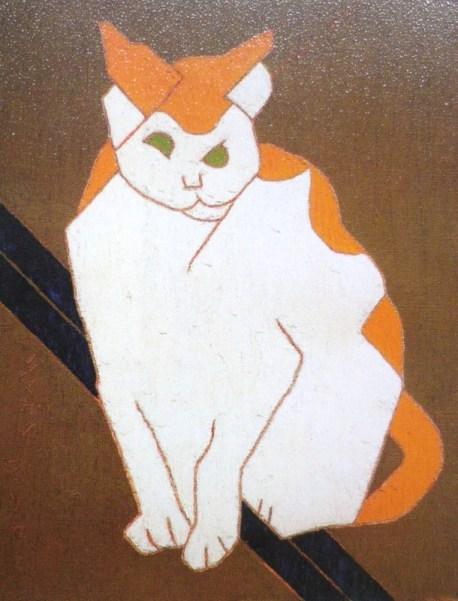 Morikazu Kumagai, Ginger and white cat, 1963