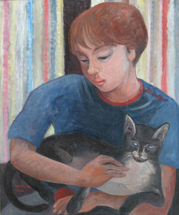 Orovida Camille Pissarro, Boy with Cat