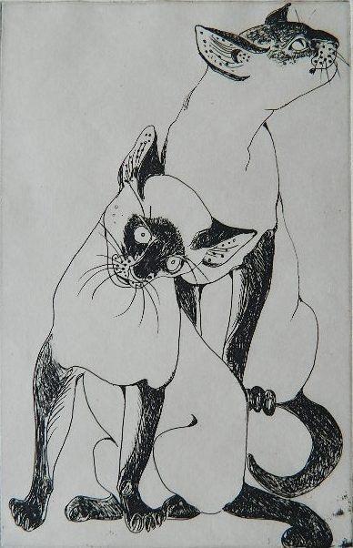 Orovida Camille Pissarro, Two Siamese Cats
