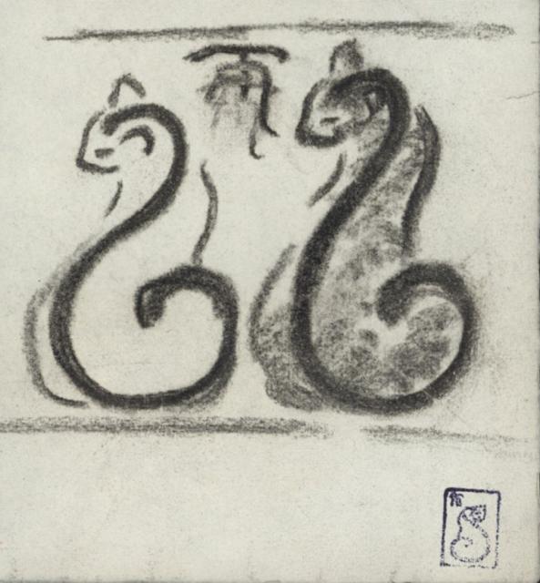 Sketch for Steinlen logo, Theophile Steinlen