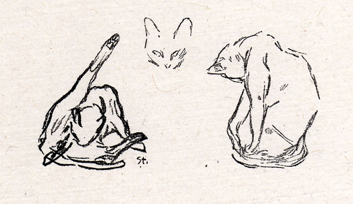 Three cat study, Theophile Steinlen