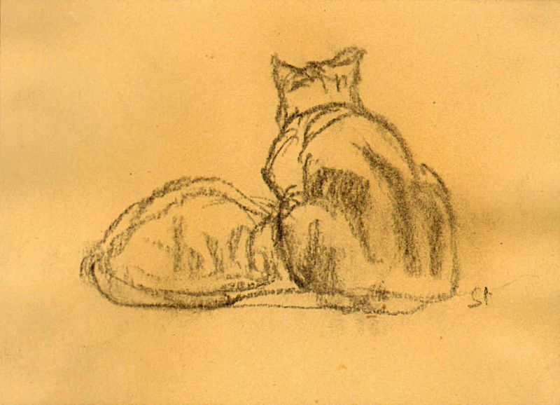 Two Cats Sketch, Theophile Steinlen