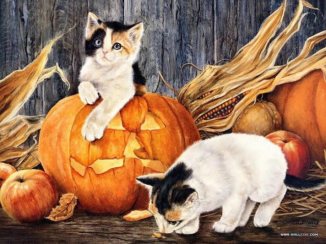 Two Kittens and Pumpkin, Lowell Herrero