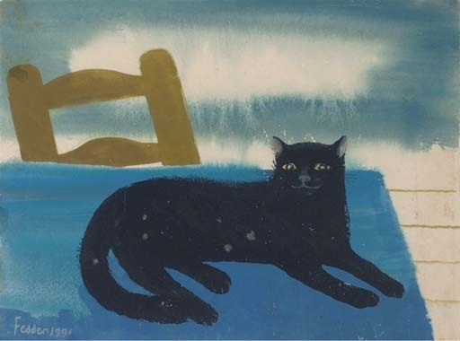 Black Cat on Blue, Mary Fedden