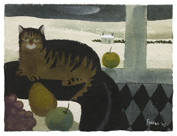 Cat and Snow Landscape, Mary Fedden