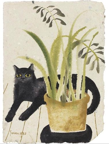 Mary Fedden (British, 1915-2012)- cat and plant