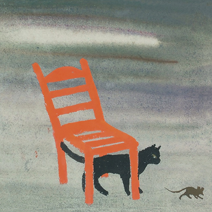 Mary Fedden, Cat and Mouse and Orange Chair